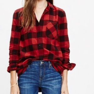 Madewell Flannel Boyfriend Shirt Buffalo Check M